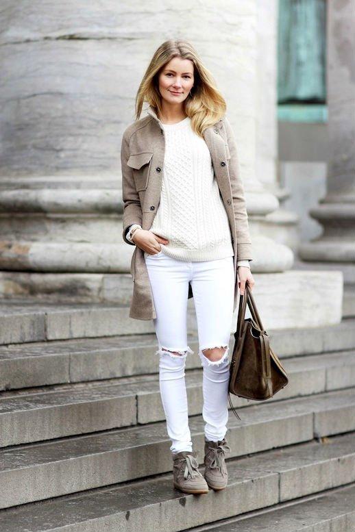 С чем зимой носить белый свитер? 40 фото образов